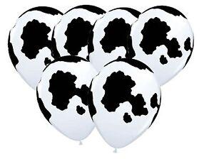 Cow-Hide-Print-Latex-Balloon-x-6-Farm-Zoo-Animal-Country-Holstein-Western
