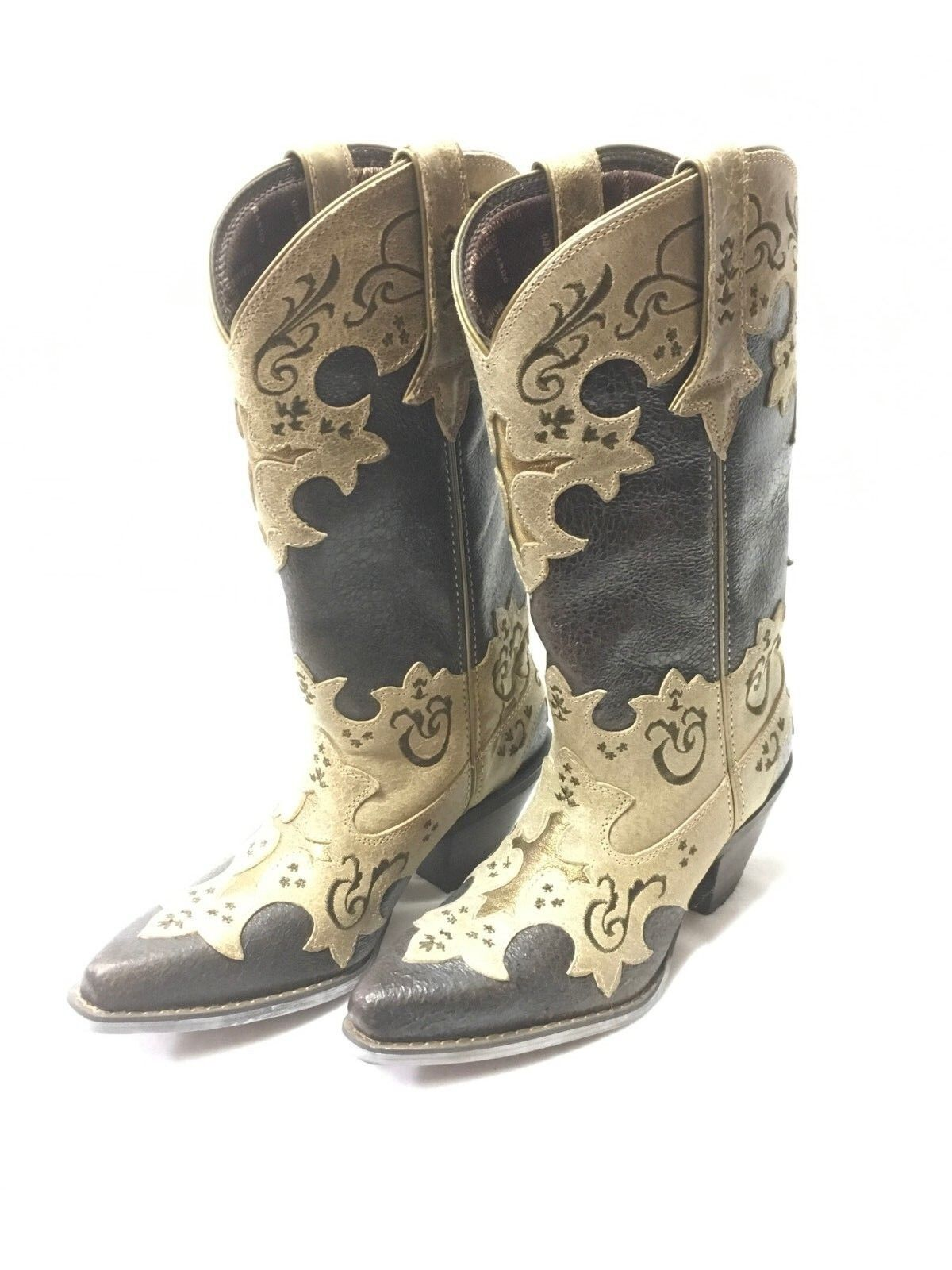Ladies Crush by Durango Cross Overlay Boots-Brown w gold Cross, Style DCRD138