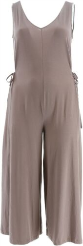 AnyBody Cozy Knit Wide-Leg Jumpsuit Smokey Taupe 2X NEW A354732
