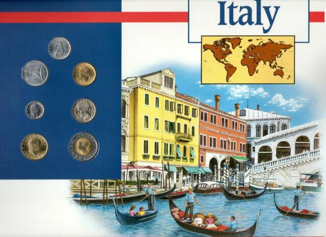 Coins of the World Italy 5,10,50,200,500 Lire 1995 100 Lire 1994 20 Lire 1991 BU