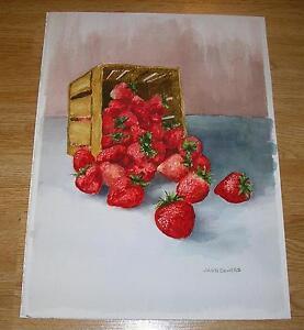 VINTAGE STRAWBERRIES STRAWBERRY JUICY RED RIPE FRUIT BASKET WATERCOLOR PAINTING