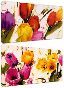 Dettagli su Quadri Moderni Arredamento cm.100x50 Fiori Colorati Arredo Casa  Arte Stampa Tela