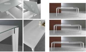 Tavolo Rettangolare In Vetro.Tavolo Rettangolare Allungabile 140 230 Base Metallo Piano Vetro 4