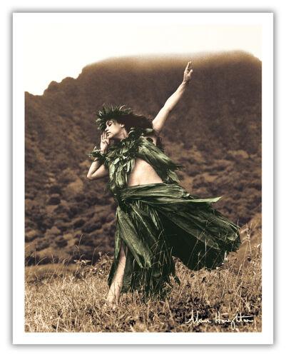 Primitive Hawaiian Hula Dancer Girl Houghton Vintage Art Poster Print Giclee