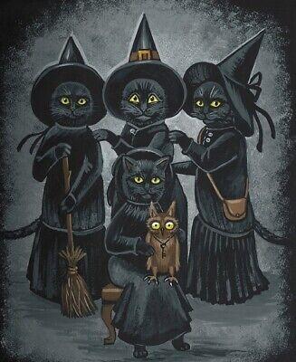 11x11 PRINT OF PAINTING HALLOWEEN RYTA VINTAGE STYLE FOLK ART GOTHIC  BLACK CAT