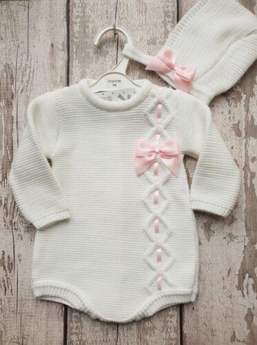 Spanish Style Baby Girl White Romper /& Bonnet Set.