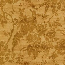 Tropical Birds and Foilage in Gold on Gold Wallpaper CS27381