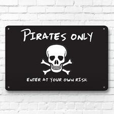 Pirati solo cameretta bimbi insegna per porta decorazione segnale metallico A4