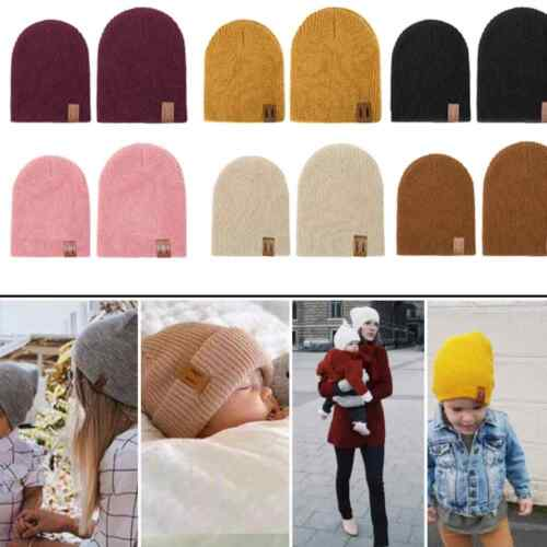 Kids beanie hat childrens boy girl winter knitted woolly Hair wrap ponytail hole