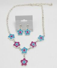 WHIMSICAL FLOWER CHARMS NECKLACE & EARRING SET - ENAMEL - PURPLE/TURQUOISE COLOR