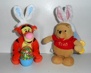 Disney-Store-POOH-HAPPY-HOPPER-WIND-UP-TOY-amp-TIGGER-w-EGG-BUNNY-EARS-Plush-NEW