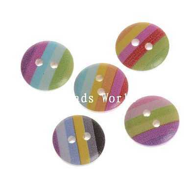 100 Pcs Mixed Wood Buttons Sewing Scrapbooking Rainbow Stripe 2 Holes 15mm
