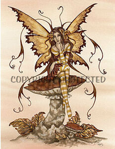 Image Is Loading Amy Brown Fairy Print Faery Autumn Tranquility Mushroom