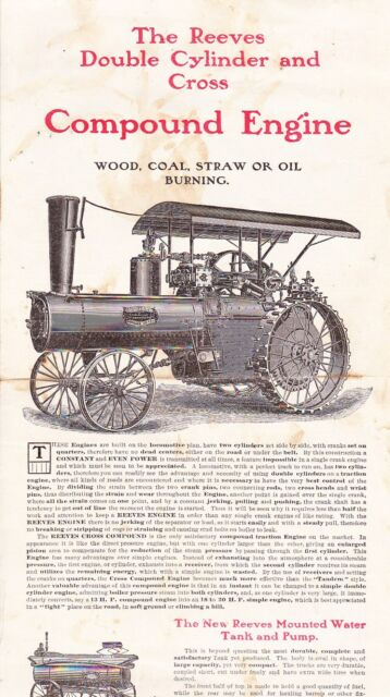 Reeves Double Cylinder and Cross Compound Engine 4 page ad 1910s? ORIGINAL