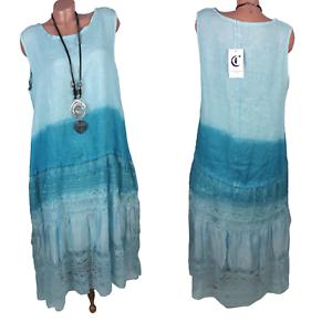 Gr. 42 44 - Leinen Sommer Kleid mit Spitze und Seide ...