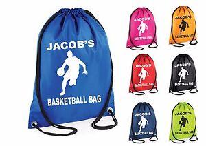 Personalised-Basketball-Sport-Gym-Bag-Swim-Drawstring-School-PE-Kit-Sports-Kids