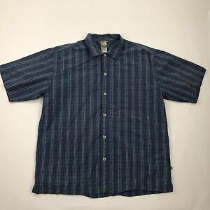 The-North-Face-Men-Blue-Stripe-Button-Front-Short-Sleeve-Shirt-sz-L