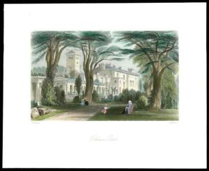 1850-Original-Antique-Print-SURREY-OCKHAM-PARK-HOUSE-Woking-GC3-61