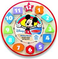 Mickey Mouse Wooden Shape Sorting Clock, New, Free Shipping