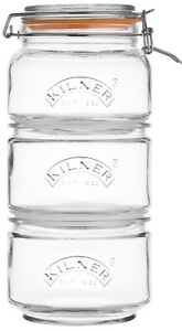 Kilner-Set-of-3-Stackable-Glass-Canisters-With-Clip-Top-Lid-and-silicone-Seal