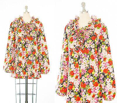 Vintage 60s Mod Mini Babydoll Floral Ruffle Lolita Dress