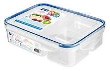 Klip sello 3 Compartimento Caja de Almacenamiento de Plástico Comida Almuerzo de Split contenedor libre de BPA