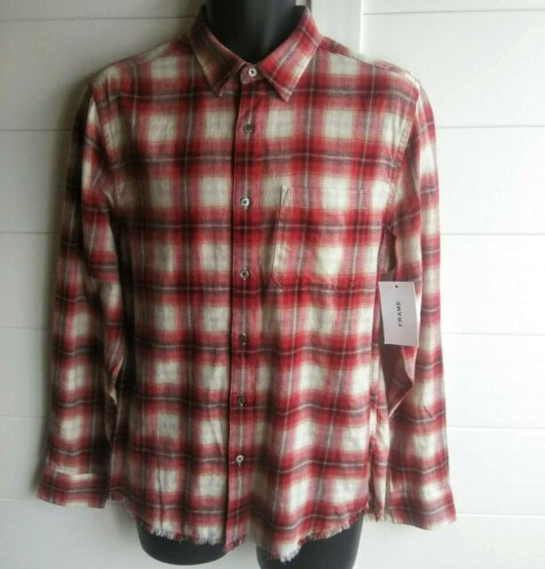 FRAME Denim Frayed Hem Mens Slim Shirt 16.5 Long Sleeve Button Red Plaid Cotton