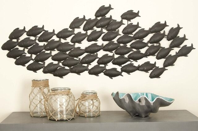 Benzara 97912 Uno Fish Nautical Metal Wall Art Decor Sculpture For Sale Online Ebay