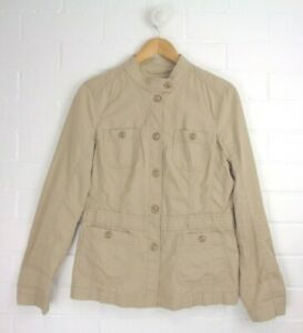 ESPRIT-Light-Beige-Tan-Trench-Style-Jacket-Button-Front-Size-12