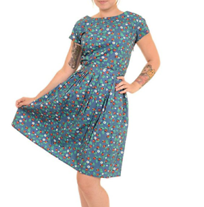 Damen-Run-amp-Fly-Indie-Retro-Vintage-50-039-s-Style-Blau-Marienkaefer-Nachmittagskleid