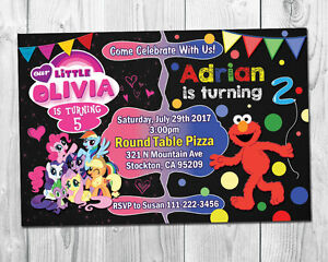 Image Is Loading My Little Pony Amp Elmo Double Birthday Party