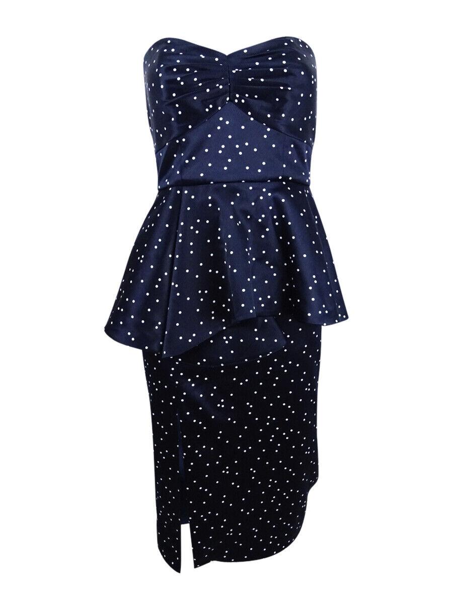 Bardot Woherren Polka Dot Satin Peplum Dress