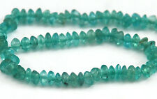HALF STRAND OF NATURAL LIGHT BLUE / GREEN APATITE RONDELLE / BUTTON BEADS, 3 MM