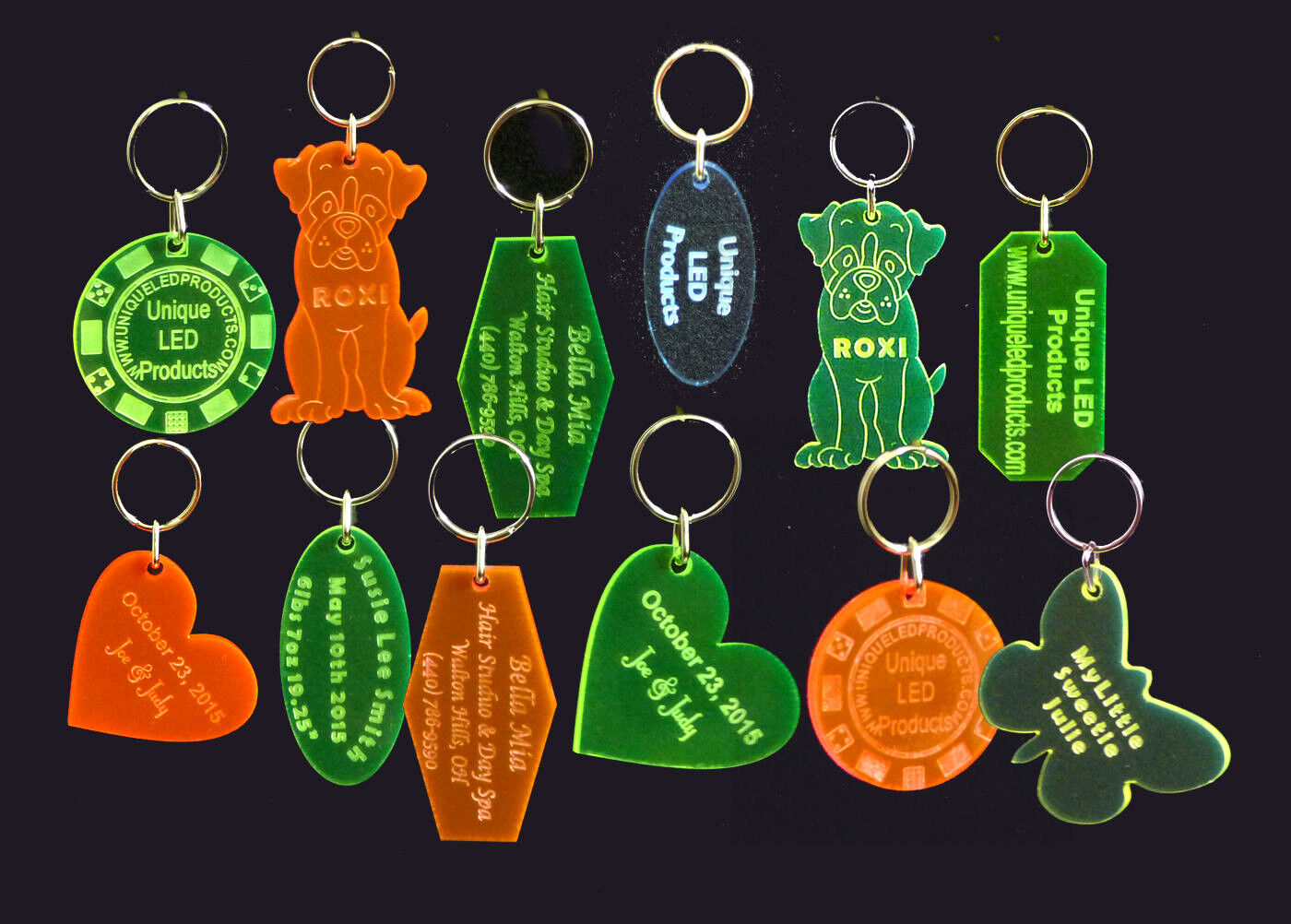 Qty 25 Personalized Keychains, Key Tags, Key Rings