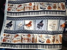 """PERFECT PITCH 2 PIANO KEYBOARD VIOLIN TRUMPET  COTTON FABRIC 45"""" w, sold BTY"""