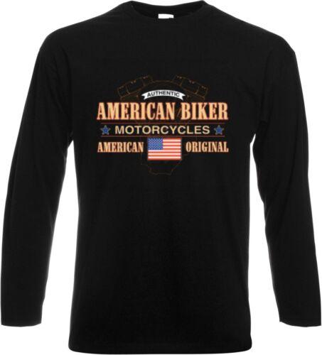 Long Sleeve//Long Sleeves HD Biker Chopper/&old School Motif Model American Biker