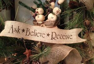 image is loading primitive christmas burlap ribbon banner ask believe receive