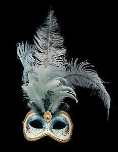 Maschera Di Venezia Columbine Per Piume Struzzo Blu-Maschera - 1346 V78