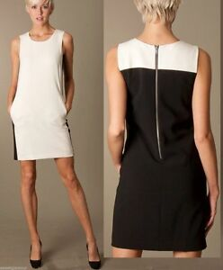ed59239a26d  325 DKNY Colorblock Contrast Crepe Cream   Black Sleeveless Shift ...