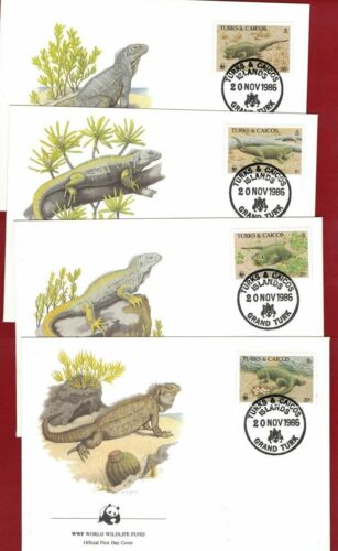 1986 Turks & Caicos Islands WWF Endangered Species Set SG 88891 four FDC or FU