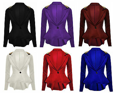 Women/'s Plain su misura Volant Zip Peplum Blazer Cappotto Giacca Taglia UK 8-24
