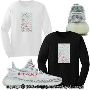 NEW-CUSTOM-LONG-T-SHIRT-adidas-YEEZY-Boost-350-v2-Blue-Tint-AD-Y-1-9-L