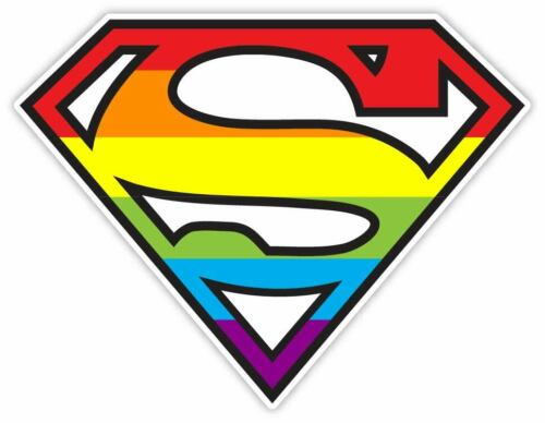 Superhero Superman LDBT Gay Pride Rainbow Bumper Laptop Sticker Decal  SIZES