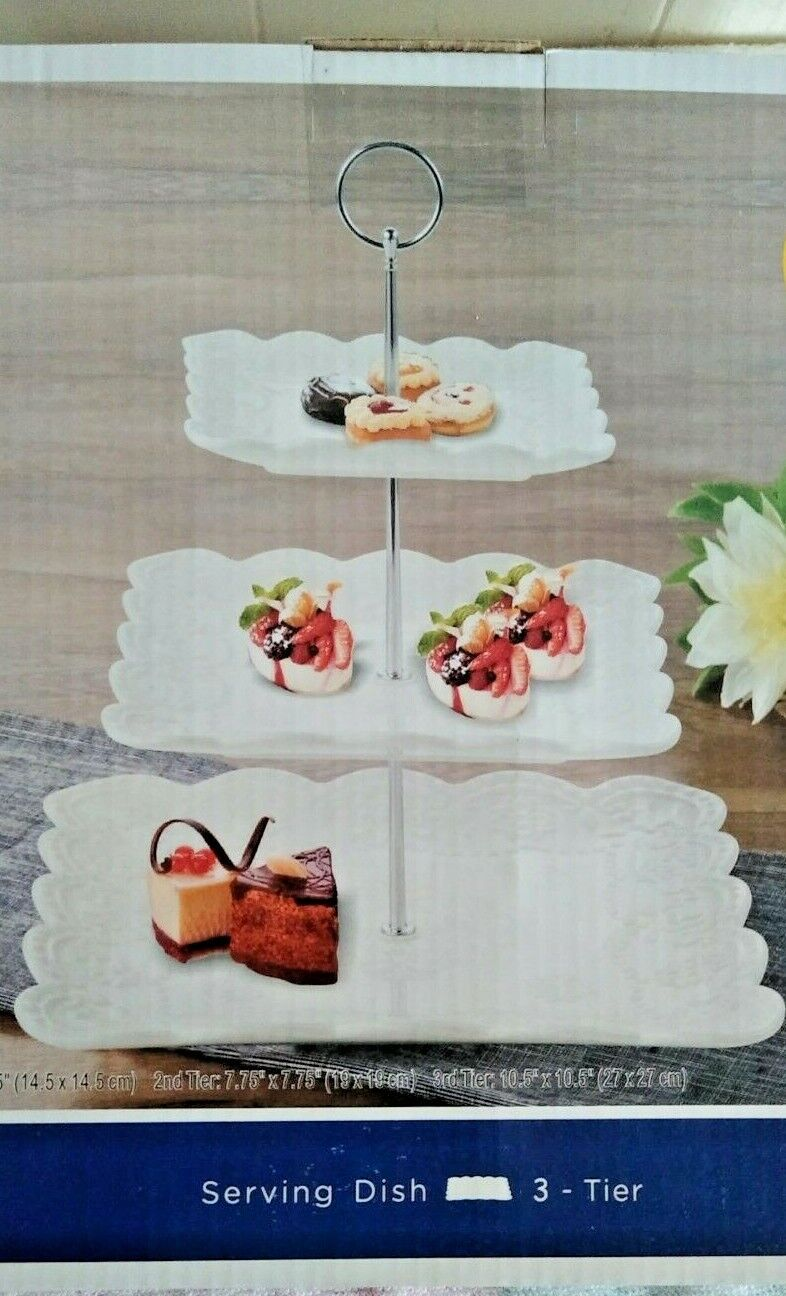 3-tier Porcelain Cake Stand Dessert Cupcake Tea Party Serving White