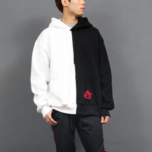 Men/'s Fashion Contrast Half Color Printing Back Zip Up Hoodie GENTLER SHOP