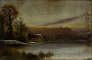C-F-Early-20th-Century-Oil-Purple-Sunset-Cottage