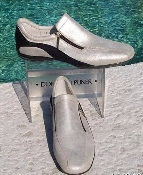 Donald Pliner Metallic Silver Leather shoes shoes shoes New Athletic Inspired Flex 6.5  225 3f47b5