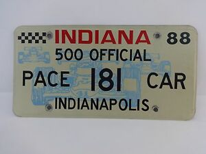 Official-1988-Indianapolis-500-Pace-Car-License-Plate-Rick-Mears-Oldsmobile