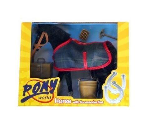 Pony world cheval avec accessoires set-cheval taille 20cm-noir ES89