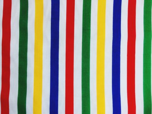 Cheap New Remnant Striped Rainbow 15 cm Wide OffCut Fabric Polycotton Patchwork